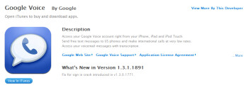 iTunes gets Google Voice back as bug on app is fixed