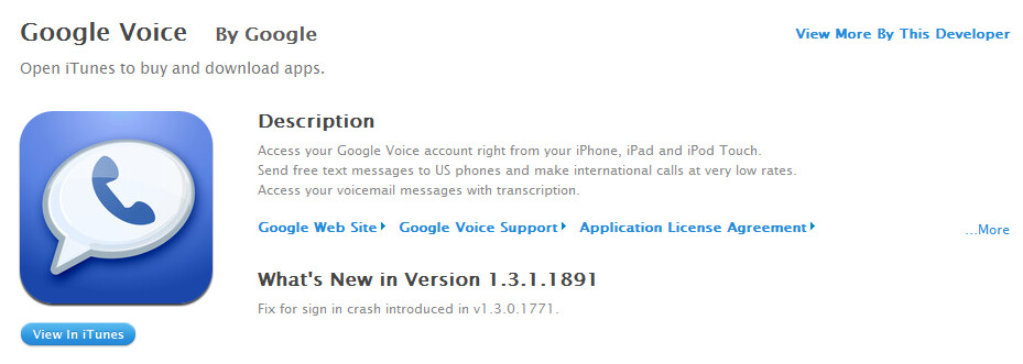 ...that the app is back on iTunes - iTunes gets Google Voice back as bug on app is fixed