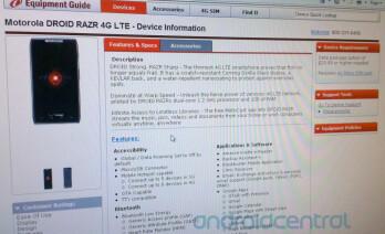 The Motorola DROID RAZR is now on Verizon's equipment infocenter