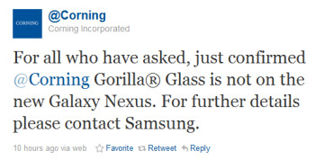 Corning says there is no Gorilla Glass on the Samsung GALAXY Nexus