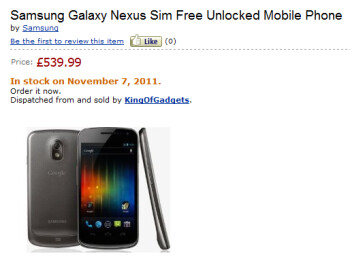Amazon UK shows the Samsung GALAXY Nexus in stock on November 7th