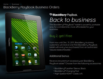 Business customers can buy 2 BlackBerry PlayBooks and get one free
