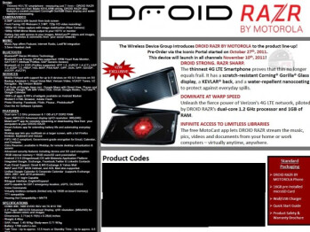 An internal Verizon document confirms the November 10th launch date for the Motorola DROID RAZR (L), the Samsung GALAXY Nexus (R) could launch November 24th or later