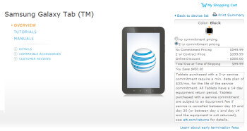 AT&T is offering the Samsung Galaxy Tab for $99.99 with a 2 year pact and a $35 monthly data plan