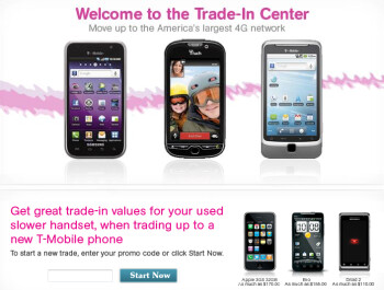 Get an HTC Radar 4G for free after a rebate and your signature on a 2-year contract (L), and then trade in any old working phone for $100 (R)