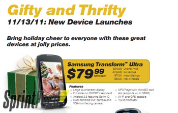 The Samsung Transform Ultra and the Kyocera DuraCore may be launched by Sprint on November 13