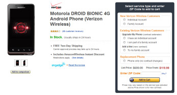 Amazon is now offering the Motorola DROID BIONIC for $120 on contract