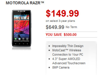 Rogers is offering the Motorola RAZR for $149.99 on contract