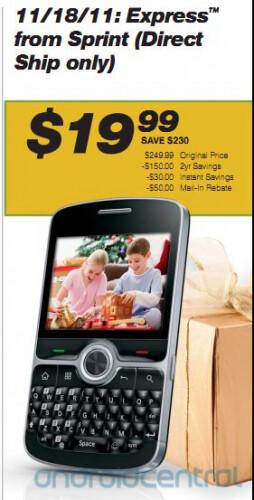 Entry-level Sprint Express smartphone arriving November 18