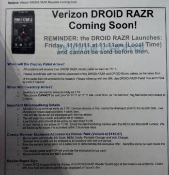 Costco to include a free accessory pack with the Motorola DROID RAZR