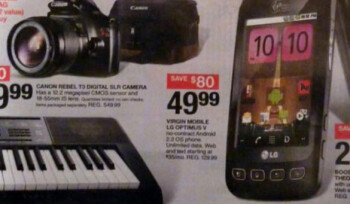 This Target circular shows off the special $49 no contract price for the LG Optimus V on Black Friday