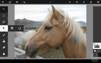 The interface of Adobe Photoshop Touch