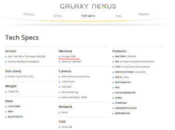 Google updates Galaxy Nexus specs, may have killed 32GB model