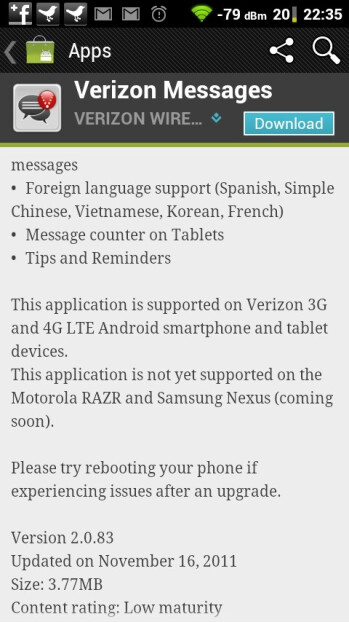 Samsung GALAXY Nexus gets mentioned by a Verizon app
