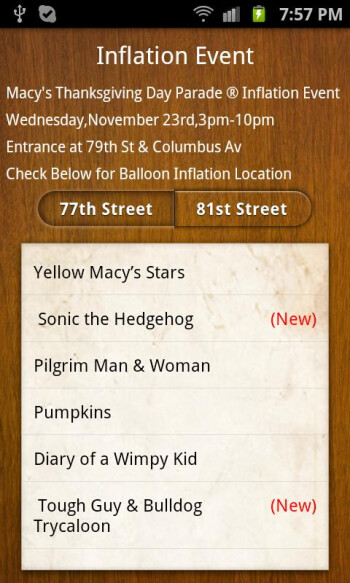 The Macy's thanksgiving Day Parade app is available for both iOS and Android devices