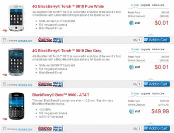 Some of the BlackBerry deals available online from Costco