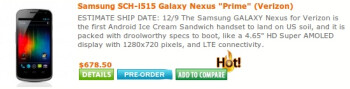 Verizon Samsung Galaxy Nexus release date to be December 9th at third-party retailers?