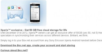 Sony Ericsson Xperia owners can now get 50GB of free storage on Box.net
