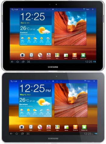 The Samsung GALAXY TAB 10.1N (above) and the Samsung GALAXY Tab 10.1 (below)