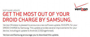 the Samsung Droid Charge now is powered by Android 2.3