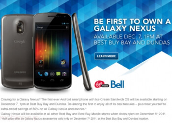 Samsung Galaxy Nexus will be available in Toronto a day early