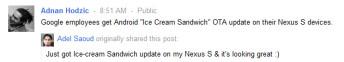 Google employees getting a bite of Ice Cream Sandwich on the Nexus S