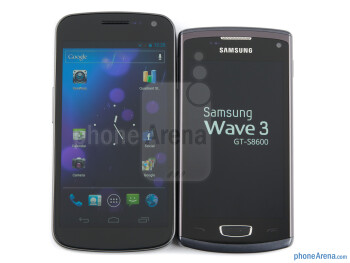 The Samsung Galaxy Nexus vs the Samsung Wave 3 (left) and the Samsung Galaxy S II (right)