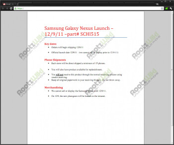 The Samsung Galaxy Nexus may launch on December 9, if this leaked document is to be believed