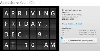 Apple Store at Grand Central Station is set to officially open on December 9th at 10:00 AM