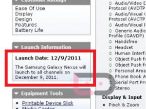 Verizon updates its Equipment Guide; Samsung GALAXY Nexus now scheduled for December 9th launch