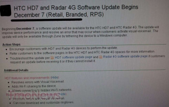 The HTC Radar 4G and HD7 are both expected to get software updates