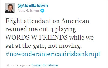 Alec Baldwin gets booted out of an AA flight for playing Words with Friends on his iPhone