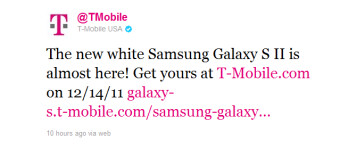 The white Samsung Galaxy S II is coming December 14th to T-Mobile