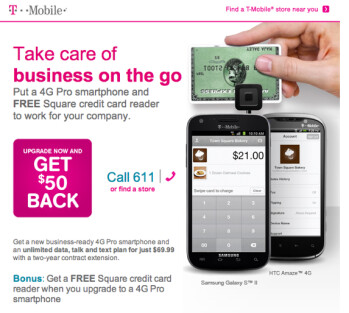 T-Mobile is offering business customers a chance to get a free Square reader