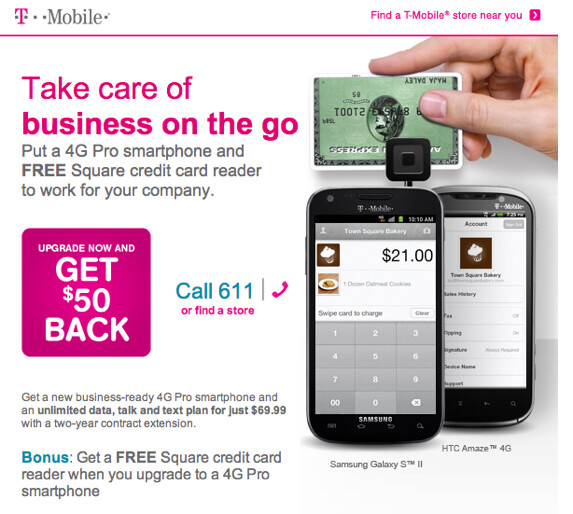 T mobile offers square credit card reader to business customers t mobile is offering business customers a chance to get a free square reader colourmoves