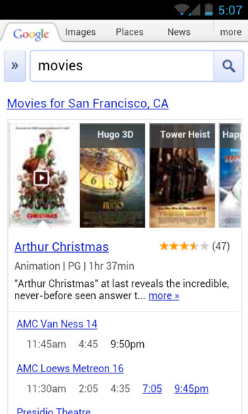 Google.com's new movie search service brings playing times to you faster