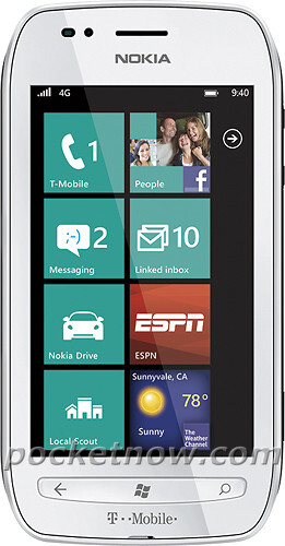 Nokia Lumia 710's first T-Mobile press shot all dolled up in white