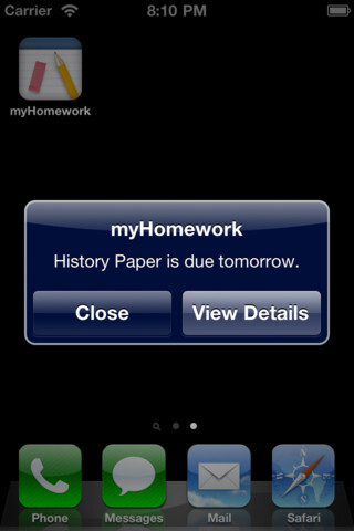 myHomework is another organizational app that can help you keep track of all of your homework and projects