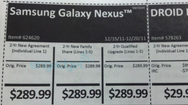 Leaked internal pricing guides for Costco indicates December 15th release for Verizon's Galaxy Nexus