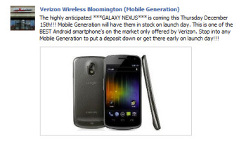 The picture on Mobile Generation's Facebook page is of the GSM version of the Samsung GALAXY Nexus