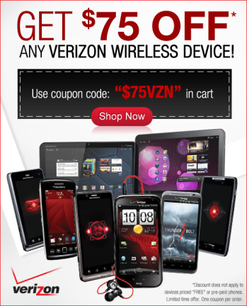New Verizon customers can grab the Samsung GALAXY Nexus for $154.99 from Let's Talk with this $75 coupon at right