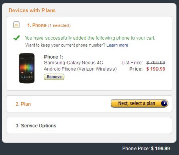 The Samsung Galaxy Nexus costs $220 at Fry's electronics and $200 at Amazon