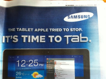 """Samsung uses """"The tablet Apple tried to stop"""" ad for marketing the Galaxy Tab 10.1 in Australia"""