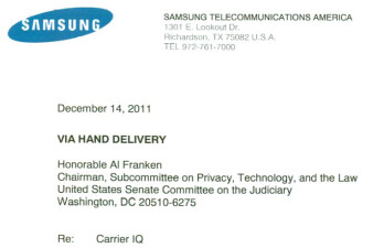 Samsung hand delivered a letter Wednesday to Senator Al Franken