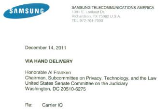 Samsung hand delivered a letter Wednesday to Senator Al Franken