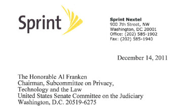 Sprint joins the list of industry players responding to Sen. Franken