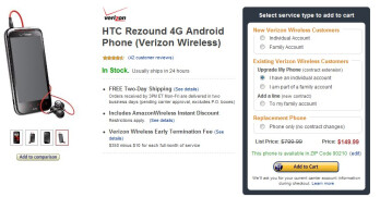 Amazon brings the HTC Rezound to a reasonable $149.99 on-contract for everyone