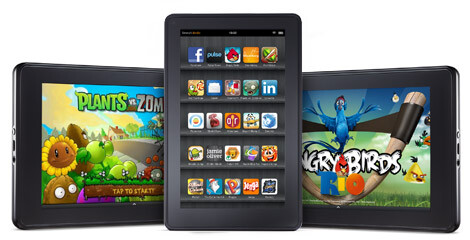 The 7 inch Amazon Kindle Fire (L) and the 9.7 inch Apple iPad 2 (R) - More 7 inch LCD tablet displays were produced last month than 9.7 inch screens