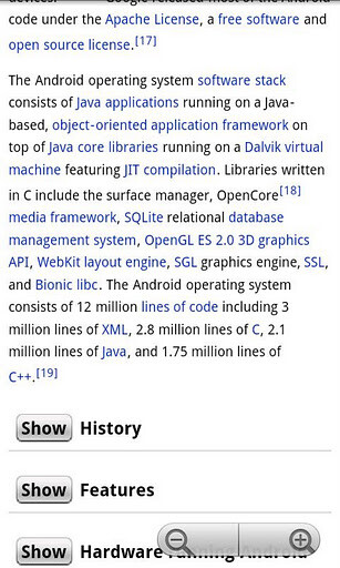 WikiDroid is an app that formats Wikipedia articles in an easy to read way