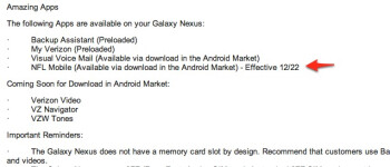 Memo shows original December 22nd launch for NFL Mobile on Samsung GALAXY Nexus